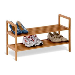 2-Tier Bamboo Shoe Shelf - Honey-Can-Do SHO-01600 2-Tier Bamboo Shoe Storage Rack.  This eco-friendly bamboo shelving unit is the perfect combination of function, versatility, and style. The gorgeous, natural finish is a stunning addition to any decor. The unit can display 8-pairs of shoes beautifully; more for smaller sizes. Open slats allow air circulation, yet are close enough together to hold other items such bags or books. Durable bamboo is also moisture resistant; making this a great storage solution for baskets or towels in a spa-style bathroom.