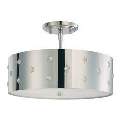 George Kovacs - Bling Bling 3-Light Semiflush Mount - This light fixture has enough bling to light up any room in your home. The perforated steel drum is accented by individual crystals that reflect light and shimmer throughout your space.