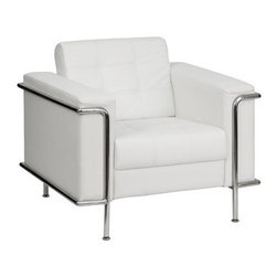 Flash Furniture - Flash Furniture Lesley White Club Chair - This attractive white leather reception chair will complete your upscale reception area. The design of this chair allows it to adapt in a multitude of environments with its tufted cushions and visible accent stainless steel frame. [ZB-LESLEY-8090-CHAIR-WH-GG] Operating out of Etowah GA (with a warehouse in Reno NV) Flash Furniture specializes in bold upbeat décor for home office or commercial spaces. With a wide array of colors and fashions to fit your budget Flash Furniture accommodates your every need. Features include Lesley Series Chair Office or Home Office Seating Made of Eco-Friendly Materials Tufted Seat and Back Fixed Seat and Back Cushion Foam Filled Cushions Stainless Steel Accent Bar Stainless Steel Legs White LeatherSoft Upholstery LeatherSoft is leather and polyurethane for added Softness and Durability CA117 Fire Retardant Foam. Specifications Seat Size: 21.5W x 22D Back Size: 23.25W x 17H Arm Height From Floor: 26H Arm Height From Seat: 9H Seat Height: 18H Finish: Stainless Steel Color: White Upholstery: White Bonded Leather.