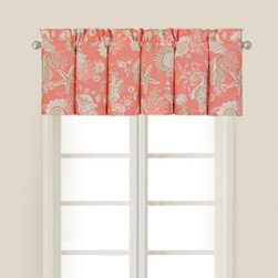 C & F Enterprises, Inc. - Natural Shells Window Valance in Coral - Bring a warm and inviting touch of the shore to your window with the Natural Shells window valance. This window treatment has a beautiful coral ground decorated with a fun seashore motif that calls back to the quilt's top.