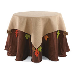 """Grandin Road - Burlap Square Table Topper with Leaves by Donna Stevens - A true work of art for the top of your harvest-themed table. Designed by Donna Stevens. Woven burlap is detailed with beautiful cut-out fall leaves. Leaves are 100% Polyester. 54"""" sq.; fits a 30"""" or 36"""" round table. Give your table an autumnal edge with Donna Stevens's Burlap Table Topper with Leaves. This harvest-hued layer of rustic burlap is detailed with fluttering orange, yellow, green, and brown maple leaves, and it's the perfect way to give your display or party table plenty of extra pizzazz. Layer it over the Chocolate Faux Dupioni Tablecloth and add a set of Autumn Maple Leaves for a fully festive composition.  .  .  .  .  . Dry clean; leaves can be spot cleaned . Imported."""