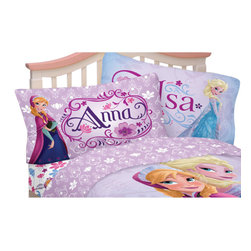 Franco Manufacturing - Disney Frozen Twin Sheet Set Celebrate Love Bedding - Features: