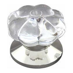 rchsupplyco - PUMPKIN DOOR KNOB - Description:Pumpkin design Clear Crystal Knob shown with Plain (P)  Polished Nickel Rose
