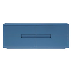 Latitude Slate Blue/Gray Low Dresser - I think it's unexpected to have a bedside console or set of drawers be the standout feature in a bedroom — but why not? The style of this dresser perfectly complements the pretty blue color infusion that it would bring to the space.