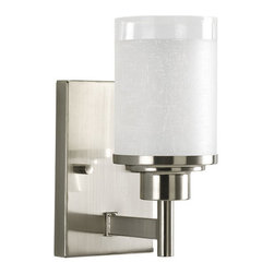 Progress Lighting - Progress Lighting P2959-09 Alexa Single-Light Bathroom Sconce with Linen - Progress Lighting P2959 Alexa Bathroom Light / Wall Sconce
