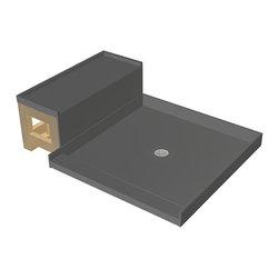 Tileredi - TileRedi 4848C-RB48-KIT 44x60 Pan and Bench Kit - TileRedi 4848C-RB48-KIT 48 inch D x 48 inch W, Integrated Center PVC Drain, Single Threshold on 48 inch Side, with Redi Bench RB4812 Kit