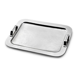 Mary Jurek Design, Inc. - Nordica Serving Tray with Strap Handles - Every home needs an elegant serving tray. Whether you are serving drinks or bringing someone special breakfast in bed, this beautifully handmade tray is perfect for entertaining in style. And it's even dishwasher safe — making for easy cleanup duty.