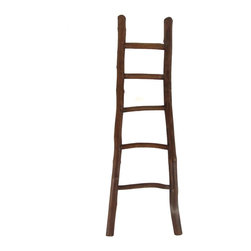 "Master Garden Products - 66""H Teak Log Ladder, Mahogany - Our rustic teak log ladder will make a great addition to your home and garden with its natural look and unique charm. The teak's grain pattern and color shine in these natural log ladders.  Can be used as a towel rack in the bathroom, decoration,or as an everyday functional ladder. These plantaton teak logs are peeled and hand polished with wax and sealer to protect it from moisture and wear. Natural teak, mahogany, and off white color available."