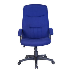 Flash Furniture - Contemporary Executive Swivel Office Chair w - Handle business in executive style with this high back desk chair. Classic framing is castered with adjustment options for tilt and height comfort. Ergonomic seat and back offer plush padding with equally comfortable armrests. Color options include blue, black and gray. High back executive swivel office chair. Durable Navy Blue fabric upholstery. Well padded seat and back. Fabric padded arm rests. Pneumatic seat height adjustment. Locking tilt control. Tilt tension control. Heavy duty nylon base. Dual wheel casters. Seat: 22 in. W x 19 in. D. Back: 22.25 in. W x 28.25 in. H. Seat Height: 18 in. - 21.75 in. H. Arm Height: 7.25 in. H (from Seat). Overall: 26.25 in. W x 21.25 in. D x 44.5 in. - 48.25 in. H (38.5 lbs.)