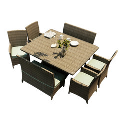 Forever Patio - Hampton 7 Piece Outdoor Square Dining Set, Heather Wicker and Spa Cushions - The Forever Patio Hampton 7 Piece Modern Patio Square Dining Set with Turquoise Sunbrella cushions (SKU FP-HAM-7SQDN-HT-SP) is perfect for taking in fresh air while enjoying a meal with friends. The set seats 8 adults comfortably, and includes 4 dining chairs, 2 dining benches and a dining table with a glass top. This set features Heather resin wicker, which is made from High-Density Polyethylene (HDPE) for outdoor use. Each strand of this outdoor wicker is infused with its natural color and UV-inhibitors that prevent cracking, chipping and fading ordinarily caused by sunlight, surpassing the quality of natural rattan. This dining patio set is supported by thick-gauged, powder-coated aluminum frames that make it extremely durable. Also included are fade- and mildew-resistant Sunbrella cushions. The elegance of this wicker outdoor dining set combined with its high quality materials will make your outdoor area a hub for unwinding while dining.