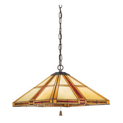 Kichler - Kichler Art Glass Unique Pendant Light Fixture in Bronze - Shown in picture: Kichler Pendant 3Lt in Dore Bronze
