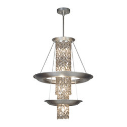 Fine Art Lamps - Celestial Pendant, 813840ST - Drench your favorite setting with dazzling illumination. Cascades of transparent silver-coated crystals, lit from inside and out, spill from silver-leafed rings to heavenly effect.