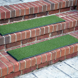 Dean Flooring Company - Dean Premium Indoor/Outdoor Non-Slip Carpet Stair Step Treads - Oasis Green (3), - Heavy Duty Indoor/Outdoor Premium Non-Slip Artificial Grass Turf Carpet Stair Treads by Dean Flooring Company