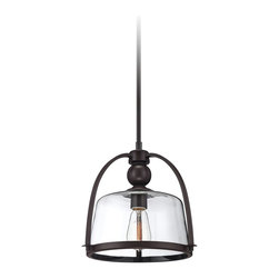"Quoizel - Industrial Quoizel Piccolo 11 1/2"" Wide Bronze Mini Pendant Light - The Quoizel Piccolo mini pendant light brings a classic and industrial charm to the interior. The rod hung mini pendant light comes in western bronze finish and features a glass shade that holds one light. This transitional mini pendant works great for the kitchen or dining area. Western Bronze finish. Includes one 100 watt medium base bulb. 11 1/2"" wide. 11"" high.  Western Bronze finish.  Includes one 100 watt medium base bulb.  11 1/2"" wide.  11"" high."