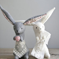 Spring Rabbit Measuring Fabric by Oh, Albatross on Etsy - Decorate your nursery shelves with enchanting, homemade keepsakes like these spring rabbits handcrafted from vintage Pendleton wool.