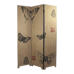 Burlap Wall Divider - Butterflies - Beautiful gold room divider with black butterfly accents to bring your room to life