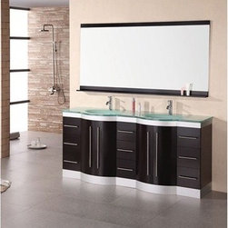 """Design Element - Design Element Jade 72"""" Double Sink Vanity Set w/ Tempered Glass Countertop - Es - The 72"""" Jade double vanity is beautifully constructed of solid oak wood. The integrated tempered glass counter top and sleek curved sink bring contemporary elegance to any bathroom. Seated at the base of the double sinks are chrome finished pop up drains designed for easy one touch draining. A large mirror with accented espresso shelf and border is included. This sleek designed vanity has ample storage which includes nine drawers and two large double door cabinets accented with satin nickel hardware. The Jade Collection Bathroom Vanity is designed as a center piece to awe-inspire the eye without sacrificing quality, functionality or durability. Features Solid oak wood cabinetsEspresso finish Integrated tempered glass counter top and sinkFaucet(s) not includedTwo chrome pop up drains Large mirror with accented espresso shelf and border Nine large drawers with two large double door cabinetsSatin nickel finish hardwareManufacturer provides 1 year warranty How to handle your counterView Spec Sheet"""