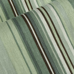 Hampton Stripe Linen Upholstery in Winter Pear - Hampton Stripes 100% Linen Upholstery Fabric in Winter Pear Green. Ideal for reupholstering couches, chairs, and other furniture, drapery, or pillows.