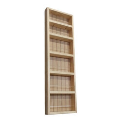 None - Pine Wood 37-inch On-the-wall Spice Rack II - This 37-inch On-the-wall Spice Rack II can be mounted on a wall,or the side of a cabinet,and includes a beadboard back panel and clear acrylic dowels in front of each shelf. This rack offers a natural pine finish that can be painted or stained.