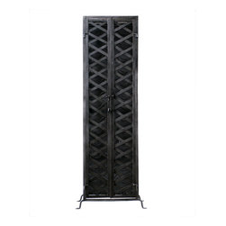 Iron Truss Wine Rack - Keep your favorite varietals under lock and key with this industrial-strength wine rack. It's made entirely of iron and has a cool, retro factory-floor vibe.