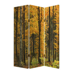 Autumn Journey Screen - One look at this three-panel screen and you'll instantly be taken to a place where the air is crisp, the leaves crunch beneath your feet, and you can smell wood fires burning in the distance. It's those reasons why everybody loves fall.