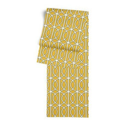 Yellow Modern Trellis Custom Table Runner - Get ready to dine in style with your new Simple Table Runner. With clean rolled edges and hundreds of fabrics to choose from, it's the perfect centerpiece to the well set table. We love it in this rounded trellis in yellow and white on soft lightweight line. Your gateway to a chic modern look.