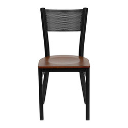 Flash Furniture - Flash Furniture Hercules Series Black Grid Back Metal Chair in Cherry - Flash furniture - Dining chairs - XUDG60115GRDCHYWGG - Provide your customers with the ultimate dining experience by offering great food service and attractive furnishings. This heavy duty commercial metal chair is ideal for restaurants hotels bars lounges and in the home. Whether you are setting up a new facility or in need of a upgrade this attractive chair will complement any environment. This metal chair is lightweight and will make it easy to move around. This easy to clean chair will complement any environment to fill the void in your decor. [XU-DG-60115-GRD-CHYW-GG]