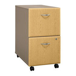 Bush Business - Oak Portable Two Drawer Filing Cabinet in Woo - Here is an example of how great looking a portable file cabinet can be.  Not only is the construction very solid so that there will not be tipping, it will hold all of the files that you need and will roll smoothly from one side of the office to the other.  The two drawers will hold standard size files and the lock will keep them safe and secure, whether you are in or out of the business.  Get your paperwork under control with our fully portable 2 Drawer File Cabinet finished in Light Oak.  The file drawers, which hold any size files, extend fully on ball-bearing glides. * Two file drawers hold various sized documents. Both drawers can be locked. Drawers are fully extending on ball-bearing glides. Able to slide under desks. Smooth casters for portability. Light Oak finish. Item ships ready for easy assembly. 15.512 in. W x 20.276 in. D x 28.15 in. H