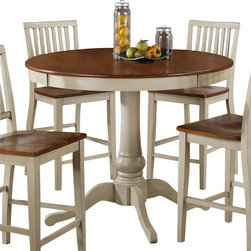 "Steve Silver Furniture - Steve Silver Candice Round Counter Table in Oak and White - The Candice collection offers country-style simplicity, transforming any dining area into a charming sanctuary. The white and oak Candice counter height pedestal table features a beautifully turned base with a 48"" round top that will seat four comfortably. Add the Candice white and oak counter height chairs to complete the look."