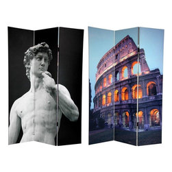 Oriental Furniture - 6 ft. Tall Double Sided Coliseum and David Canvas Room Divider - Bring home two iconic masterworks from  Il Bel Paese , separated by a thousand years but united in their renown. On the front is a tasteful black white close-up of Michelangelo's  David , his shoulders tilted in the unmistakable Contrapposto pose. The back features a photo of the east wall of the Roman Coliseum at dusk, it's arched windows glowing with a soft amber light. These Italian sculptural and architectural masterpieces will bring striking interior design elements to your living room, bedroom, dining room, kitchen or place of business. This three panel screen has different images on each side, as shown.