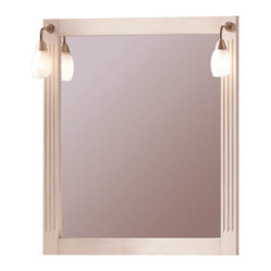 Macral - Alessandria Wall Mirror - Delicate touches partner with minimalist, modern design to make this elegant vanity mirror a perfect addition for your boudoir or bathroom. Constructed of solid wood with an ivory patina finish, with twin sconces so you'll always be seen in the best light.