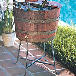 Wine Barrel Beverage Cooler - For beverages beyond wine, this wine barrel has been transformed into a gorgeous cooler.