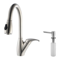 Kraus - Kraus Single Lever Stainless Steel Pull Out Kitchen Faucet and Soap Dispenser - *Update the look of your kitchen with this multi-functional Kraus pull-out faucet