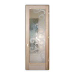 "Sans Soucie Art Glass (door frame material T.M. Cobb) - Interior Glass Door Sans Soucie Art Glass Seville II 3D, Natural Unfinished Wood - Sans Soucie Art Glass Interior Door with Sandblast Etched Glass Design. GET THE PRIVACY YOU NEED WITHOUT BLOCKING LIGHT, thru beautiful works of etched glass art by Sans Soucie!  THIS GLASS IS SEMI-PRIVATE.  (Photo is View from OUTside the room.)  Door material will be unfinished, ready for paint or stain.  Satin Nickel Hinges. Available in other wood species, hinge finishes and sizes!  As book door or prehung, or even glass only!  3/8"" thick Tempered Safety Glass.  Cleaning is the same as regular clear glass. Use glass cleaner and a soft cloth."