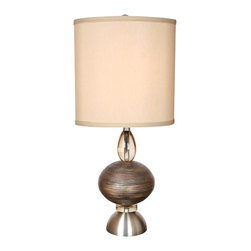 "Van Teal - Van Teal Oneal Copper And Brushed Nickel Modern Table Lamp - The Oneal table lamp melds contemporary style with elegant appeal. A circular accent in a rich cajun copper finish is the highlight of this beautiful piece with brushed nickel and transparent wheat details to complement. The design is topped with a hard back Tan Anna oval shade for a crisp modern finish. Copper and brushed nickel finishes. Contemporary design. Hard back Tan Anna shade. Takes one 150-watt 3-way bulb (not included). 31"" high. Shade is 14"" round 10"" high.  Copper and brushed nickel finishes.   Contemporary design.   Hard back Tan Anna shade.   Takes one 150-watt 3-way bulb (not included.)   31"" high.   Shade is 14"" round 10"" high."