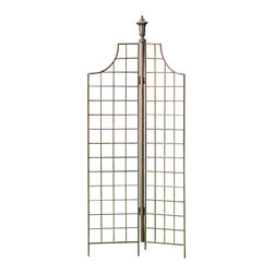 H Potter - H Potter Two-panel Screen Trellis - Create a backdrop for your boxwood or a trellis for your trumpet vine with this garden stunner. It features two, arched grid panels that you can angle to suit your needs. And the urn-shaped finial adds a classic estate feel.