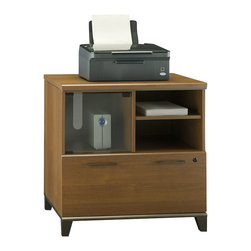 Bush - Bush Achieve Lateral File and Printer Stand in Warm Oak - Bush - Filing Cabinets - PR67390 - The Achieve Collection Lateral File/Printer stand is a natural addition to your Achieve Collection. With its contemporary styling the piece offers a full-size file drawer full-extension ball-bearing slides and adjustable shelf. The file cabinets can accommodate letter legal or A4 files. Wire management features make it easy to keep cables hidden. Offered in Warm Oak finish.