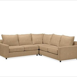 """PB Comfort Square Arm Upholstered Sectional3-Piece L-Shaped Corner Sectional w/ - Built by our own master upholsterers in the heart of North Carolina, our PB Comfort Square Upholstered sectional is designed for unparalleled comfort with deep seats and three layers of padding. 107.5"""" w x 107.5"""" d x 42"""" d x 39"""" h {{link path='pages/popups/PB-FG-Comfort-Square-Arm-4.html' class='popup' width='720' height='800'}}View the dimension diagram for more information{{/link}}. {{link path='pages/popups/PB-FG-Comfort-Square-Arm-6.html' class='popup' width='720' height='800'}}The fit & measuring guide should be read prior to placing your order{{/link}}. Choose polyester wrapped cushions for a tailored and neat look, or down-blend for a casual and relaxed look. Choice of knife-edged or box-style back cushions. Proudly made in America, {{link path='/stylehouse/videos/videos/pbq_v36_rel.html?cm_sp=Video_PIP-_-PBQUALITY-_-SUTTER_STREET' class='popup' width='950' height='300'}}view video{{/link}}. For shipping and return information, click on the shipping tab. When making your selection, see the Quick Ship and Special Order fabrics below. {{link path='pages/popups/PB-FG-Comfort-Square-Arm-7.html' class='popup' width='720' height='800'}} Additional fabrics not shown below can be seen here{{/link}}. Please call 1.888.779.5176 to place your order for these additional fabrics."""