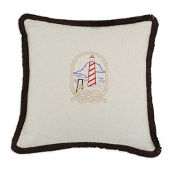 Chooty & Co. - Chooty & Co Saxony Embroidered Lighthouse 17 x 17 in. Pillow Multicolor - CS17E9 - Shop for Pillows from Hayneedle.com! Let the unique style of the Chooty & Co Saxony Embroidered Lighthouse 17 x 17 in. Pillow light up your decor. The durable white cotton cover features a bright and colorful embroidered lighthouse and is framed by a black fringe border. This friendly pillow includes hypoallergenic 100% polyester filling that's ultra soft and sure to keep its shape.About Chooty & Co.A lifelong dream of running a textile manufacturing business came to life in 2009 for Connie Garrett of Chooty & Co. This achievement was kicked off in September of '09 with the purchase of Blanket Barons well known for their imported soft as mink baby blankets and equally alluring adult coverlets. Chooty's busy manufacturing facility located in Council Bluffs Iowa utilizes a talented team to offer the blankets in many new fashion-forward patterns and solids. They've also added hundreds of Made in the USA textile products including accent pillows table linens shower curtains duvet sets window curtains and pet beds. Chooty & Co. operates on one simple principle: What is best for our customer is also best for our company.