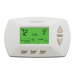 Honeywell Home - 5.1.1 Day Prog Thermostat LGDSPLY - Honeywell 5-1-1-Day Electronic Programmable Thermostat. One program for the weekdays; a separate program for Saturday and Sunday - (Up to 4 periods per day). Energy Savings - Program to save up to 33% on annual heating and cooling costs. Easy to Use - Straightforward display and buttons keep operation and programming simple. Backlit Display - Easy to read even in dimly lit rooms and hallways. Smart Response Technology - Continually adjust the pre-heating/cooling of your home so you are comfortable at your programmed times. Auto change from heating to cooling. Compatible with heating and cooling plus heat pumps Does not work with electric baseboard heat (120-240V). Soft touch keys