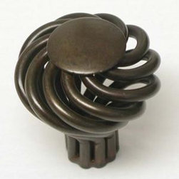 Top_Knobs - Top Knobs - Small Round Twist Knob 1 1/4 Inch -Oil Rubbed Bronze -M777 - Normandy, Nouveau III Collection, Steel Base Material,  Weight: 0.09 Lbs