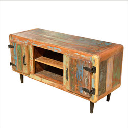 """Reclaimed Wood Media Storage TV Console & Stand - This compact Media Console is complete with two side storage cabinets, two center shelves with cutouts and a 49"""" top to hold your TV. The cabinet is built with reclaimed wood so it's an eco-responsible choice made for today."""