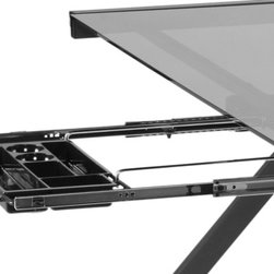 Euro Style - Hanging File & Pencil Tray - Graphite Black - Talk about an upgrade! Many desks have nowhere to put a pencil let alone hanging folders. This smart add-on has a convenient tray for office basics as well as rails for hanging folders. Now your desk works like a desk!