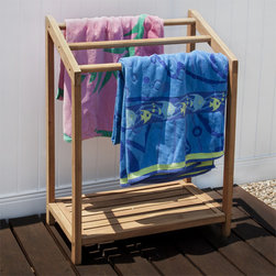 Teak Towel Rack - After a fun day in the swimming pool, quickly toss your beach towels on this Teak Towel Rack. Pair with other teak wood items around your pool or deck for a coordinated look.