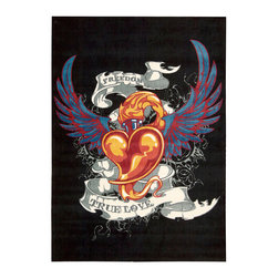 Nourison - Nourison Altered States ALT14 4' x 6' Black Area Rug 14734 - Based an archetypal tattoo design this winged heart and accompanying sentiments soar to new heights when revealed in a drop dead dramatic color palette of coral, orange, red, blue, grey and white against a velvet black background.