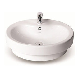 CeraStyle - Round Ceramic Vessel or Self Rimming Sink - This high-end circular bathroom sink is made out of white ceramic. Sink can be used as a self rimming or above counter vessel sink. Includes overflow and a single faucet hole. ADA Compliant. Made by luxury Turkish brand CeraStyle.
