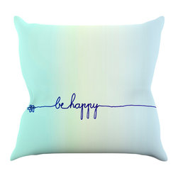 "Kess InHouse - Monika Strigel ""Be Happy Aqua"" Simple Blue Throw Pillow (16"" x 16"") - Rest among the art you love. Transform your hang out room into a hip gallery, that's also comfortable. With this pillow you can create an environment that reflects your unique style. It's amazing what a throw pillow can do to complete a room. (Kess InHouse is not responsible for pillow fighting that may occur as the result of creative stimulation)."