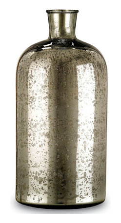 Medium Cypriot Bottle - Antique Silver - Mercury glass is a prized collector's item because the metallic glass pieces have a beauty incomparable to other vessels. Get the elegant and on-trend look in your traditional decor with a Cypriot Bottle. The height of this Medium version falls precisely in between the Large and Small sizes of the Cypriot Bottle, giving you the ability to create a flawless angle of the short, round necks as you arrange your home's decorative vignettes.