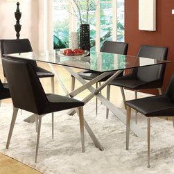 Coaster - Anderson Dining Table, Silver Metal - With the matte finish silver metal double X pedestal base, the Anderson dining collection offers a chic and modern appeal to your dining area. Built five times stronger, the table is suitable to withstand heavy usage as the primary spot for daily meals to more special occasions with guests. Equally chic, black side chairs with metal legs complete the stylish look of this table set.