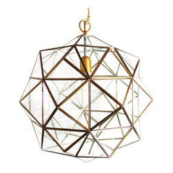 "l'aviva home - Granada Lantern, Rombus, Brass, 14"" - These lanterns, with their multitude of diamond-shaped panes ('Rombus' is derived from the spanish word for diamond), carry the moorish spirit of the Spanish city in which they are made, translating it into a modernist silhouette."